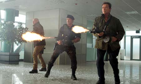 The Expendables 2 shoot it out.