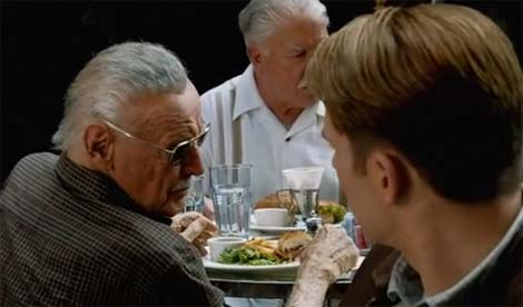 Captain America gets advice from Stan Lee.