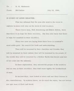 US President speech in event of Lunar landing disaster.
