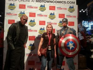 Me with the Avengers. No, that's not Chris Evans and Samuel L. Jackson. They're wax figures!