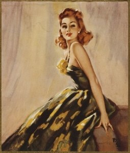 Red haired woman in strapless dress by David Wright