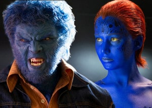 Nicholas Hoult as Beast and Jennifer Lawrence as Mystique in X-M