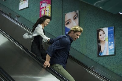 Rest assure that Hemsworth and his lovely co-star Wang are not running to catch the early morning sale of laptops in the convoluted computer crime thriller BLACKHAT.