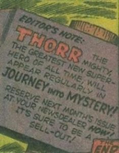 This was the only example from Journey Into Mystery I spotted on the Net. The original had it in the caption of 'whoever is worthy...'