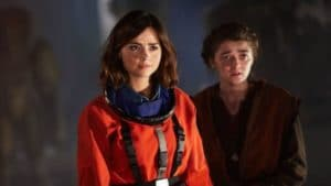 WARNING: Embargoed for publication until 00:00:01 on 13/10/2015 - Programme Name: Doctor Who - TX: 17/10/2015 - Episode: THE GIRL WHO DIED (By Jamie Mathieson and Steven Moffat) (No. 5) - Picture Shows: ***EMBARGOED UNTIL 13th OCT 2015*** Clara (JENNA COLEMAN), Ashildr (MAISIE WILLIAMS) - (C) BBC - Photographer: Simon Ridgway