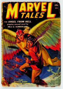 "Copyright: © MARVEL/Courtesy TASCHEN MARVEL TALES Vol. 1, No. 6. Cover; art, J.W. Scott; December 1939. The word ""Marvel"" saw its first use on the 1938 series debut of Martin Goodman's pulp magazine, MARVEL SCIENCE STORIES. The title changed to MARVEL TALES with a shift from hard science fiction to science fantasy the following year."