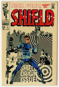 "© MARVEL/Courtesy TASCHEN NICK FURY, AGENT OF S.H.I.E.L.D. No. 4. Cover; pencils and inks, Jim Steranko; September 1968. Eschewing the overused term ""psychedelic"" to describe Steranko's fantastic artwork — the artist coined a new phrase for his work: Zap Art. The term fit, as he employed techniques culled from various sources, including photography, collage, movie posters, and advertising to create a contemporary look."