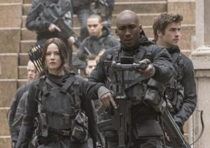 Lawrence's Katniss Everdeen and her military mafia are ready to rumble in the final chapter THE HUNGER GAMES: MOCKINGJAY--PART 2.