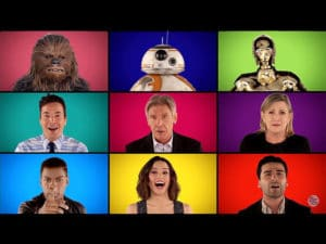 The Roots & The Force Awakens cast sing Star Wars a-cappella.