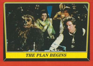THE PLAN BEGINS A stolen IMPERIAL SHUTTLE figures prominently in the REBEL plan to destroy the new DEATH STAR. A determined HAN SOLO and CHEWBACCA man the controls as PRINCESS LEIA, LUKE SKYWALKER and the DROIDS look on… © & TM 2016 LUCASFILM LTD. © 2016 The Topps Company Inc. All rights reserved