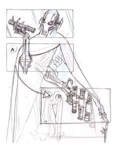 Caption 3 (SW Storyboard 8) Grievous adds Shaak Ti's lightsaber to his collection. » Thompson Derek Thompson (Artist) Episode III  Copyright © 2013 Lucasfilm Ltd. and TM.