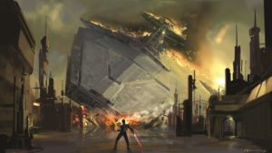 Amy Beth Christenson Star Destroyer crash Concept art for The Force Unleashed Copyright © 2013 Lucasfilm Ltd. and TM.