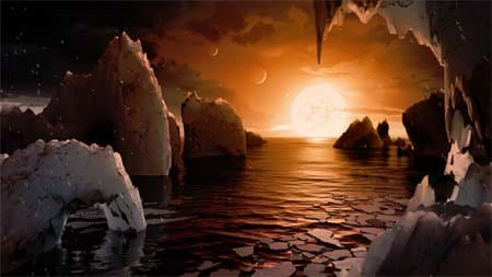 NASA unveils a clutch of Earth-size habitable-zone worlds around a single sun.