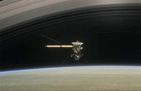 Cassini on final orbit around Saturn.